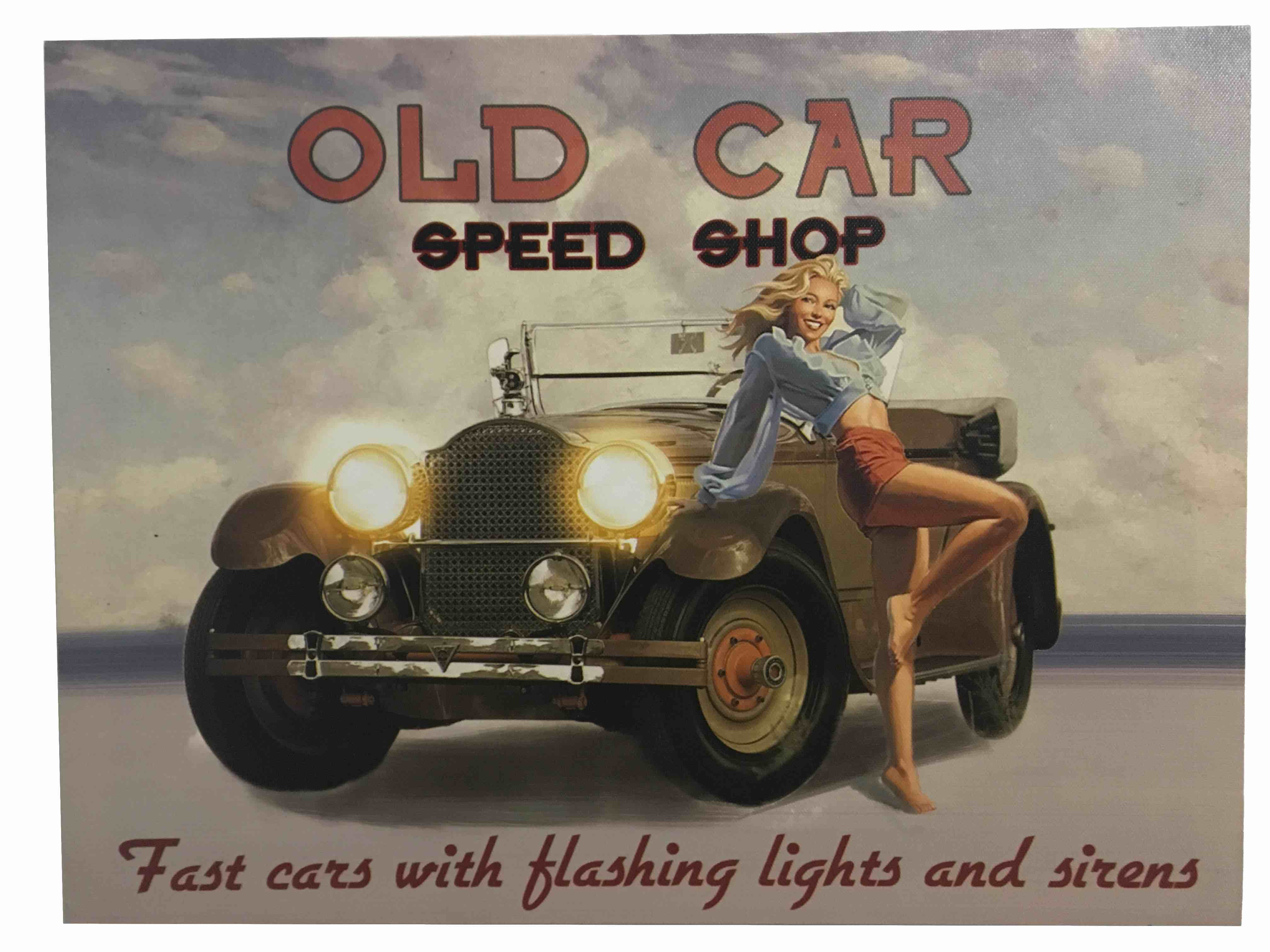 Obraz s Led podsvietením Old Car Speed Shop 30x40cm